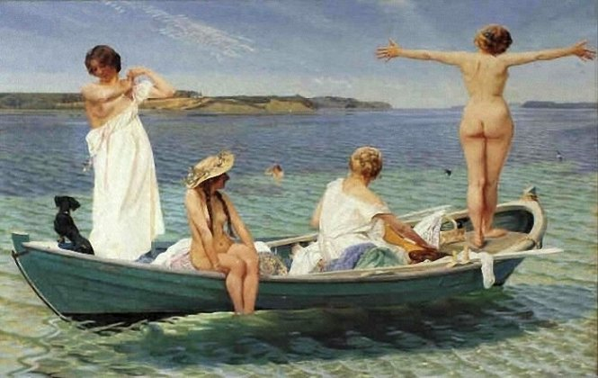 Harald_Slott-Møller Girls In A Green Rowing Boat On A Summer Day 1910